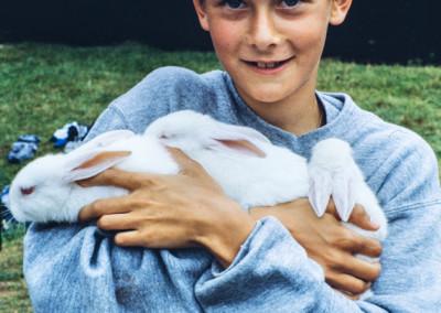 1986. On avait acheté des lapins pour la Ruche