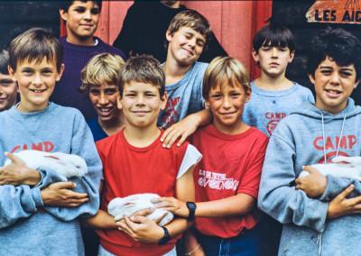 1986. On avait acheté des lapins pour la Ruche - Pierre-André L'Espérance, Jean-Philippe Lessard, Philippe Beaupré, Martin Borgeat, Thierry Samson